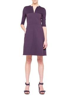 Akris punto Half-Sleeve A-Line Combo Dress, Purple