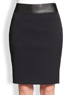 Akris Punto Jacquard & Faux Leather Skirt