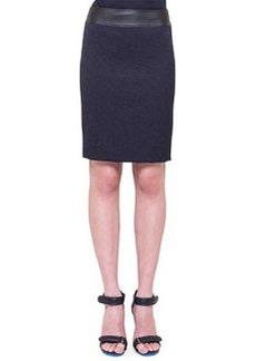 Akris punto Jacquard Pencil Skirt with Faux-Leather Waistband