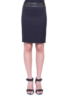 Akris punto Jacquard Pencil Skirt with Faux-Leather Waistband