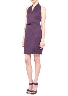Akris punto Jacquard V-Neck Halter Sheath Dress, Purple