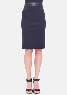 Akris punto Jersey Pencil Skirt with Faux Leather Trim