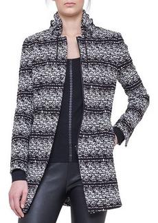 Akris punto Jersey Tweed Drawstring-Collar Jacket