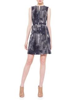 Akris punto Jewel-Neck Pixel-Print Dress