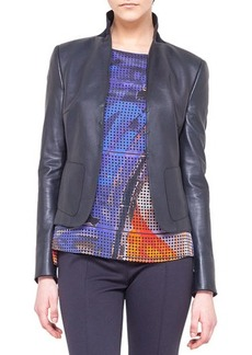 Akris punto Leather-Front Jersey Jacket
