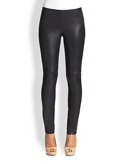 Akris Punto Leather-Front Leggings