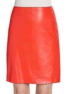 Akris Punto Leather Pencil Skirt