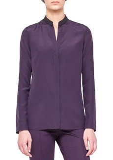 Akris punto Long-Sleeve Blouse with Contrast Collar