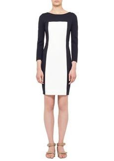 Akris punto Long-Sleeve Colorblock Paneled Dress, Navy/Cream
