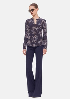 Akris punto Long Sleeve Print Silk Blouse