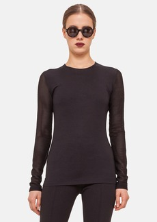Akris punto Mesh Inset Long Sleeve Shirt