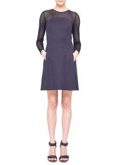 Akris punto Mesh-Panel Techno A-Line Dress