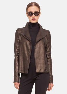 Akris punto Metallic Nappa Leather Moto Jacket