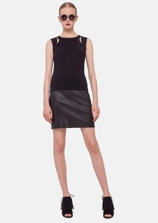 Akris punto Nappa Leather & Jersey Miniskirt