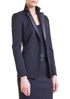 Akris punto One-Button Jacket with Faux-Leather Lapels