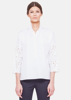 Akris punto Oversized Cotton Blouse with Embroidered Sleeves