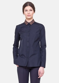 Akris punto Oversized Cotton Shirt with Detachable Beaded Collar