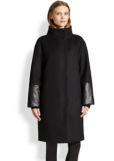 Akris Punto Oversized Wool & Faux Leather Coat
