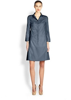 Akris Punto Perforated Cotton Collared Dress