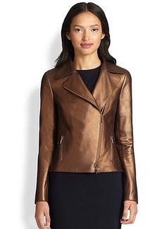 Akris Punto Perforated Metallic Leather Moto Jacket