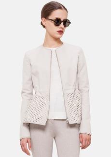 Akris punto Perforated Peplum Cotton Blend Jacket