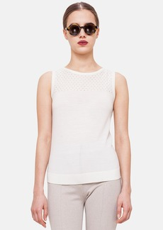 Akris punto Perforated Yoke Wool Knit Tank