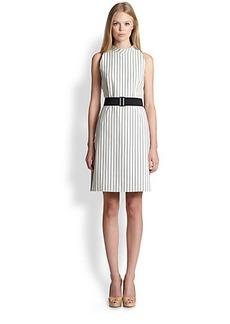 Akris Punto Pinstripe Belted Dress