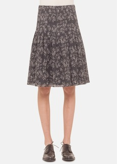 Akris punto Pleated Print Cotton Skirt