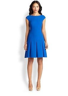 Akris Punto Pleated Wool Scoopback Dress