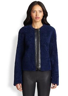 Akris Punto Reversible Leather-Trim Shearling Jacket