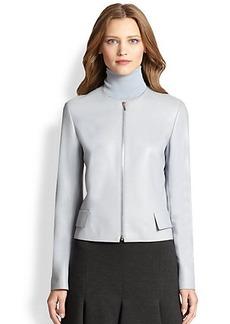 Akris Punto Round-Neck Leather Jacket