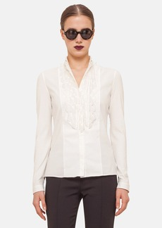 Akris punto Scallop Embellished Cotton Blend Shirt