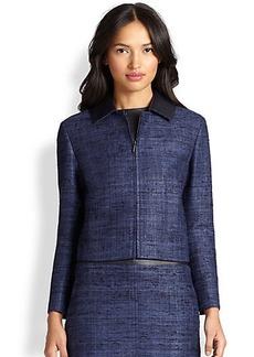 Akris Punto Silk Contrast-Collar Cropped Jacket
