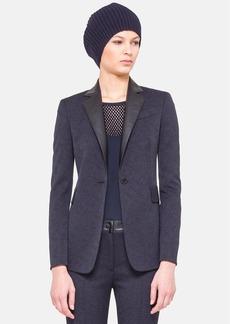 Akris punto Techno Jacquard Jacket with Faux Leather Collar
