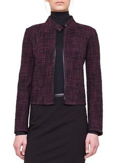 Akris punto Tweed Band-Collar Jacket