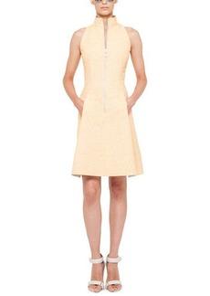 Akris punto Tweed Zip-Front Mock-Collar Dress
