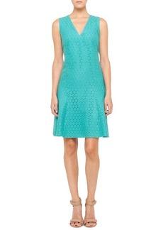 Akris punto V-Neck Lace Dress, Pool