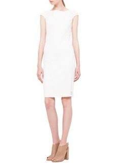 Cap-Sleeve Mesh-Inset Jersey Dress, Creme   Cap-Sleeve Mesh-Inset Jersey Dress, Creme
