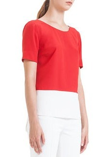 Colorblock Pleated Silk Blouse, Rouge/Creme   Colorblock Pleated Silk Blouse, Rouge/Creme