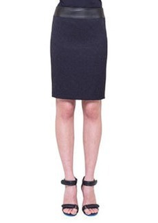 Faux-Leather-Waist Skirt, Navy   Faux-Leather-Waist Skirt, Navy