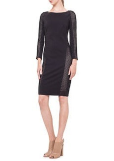 Mesh-Inset Jersey Dress, Noir   Mesh-Inset Jersey Dress, Noir