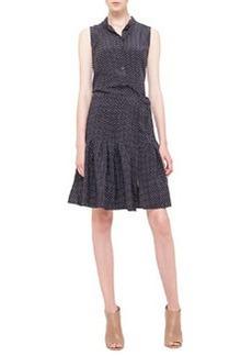 Polka-Dot Pleated Silk Dress, Noir/Creme   Polka-Dot Pleated Silk Dress, Noir/Creme