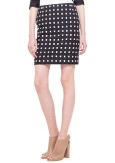 Square Dotted Jacquard Short Skirt, Noir/Creme   Square Dotted Jacquard Short Skirt, Noir/Creme