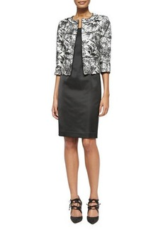 Albert Nipon 3/4-Sleeve Floral Jacket & Satin Dress Set  3/4-Sleeve Floral Jacket & Satin Dress Set