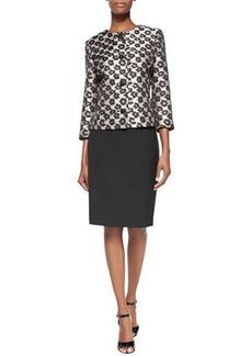 Albert Nipon 3/4-Sleeve Leopard Jacket Skirt Suit  3/4-Sleeve Leopard Jacket Skirt Suit