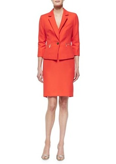 Albert Nipon 3/4-Sleeve One-Button Zip-Pocket Skirtsuit