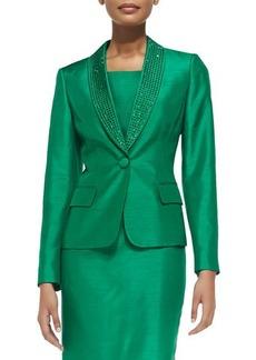 Albert Nipon Bead-Trim Sheath Dress with Jacket  Bead-Trim Sheath Dress with Jacket