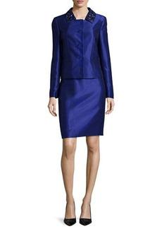 Albert Nipon Beaded-Collar Skirt Suit  Beaded-Collar Skirt Suit