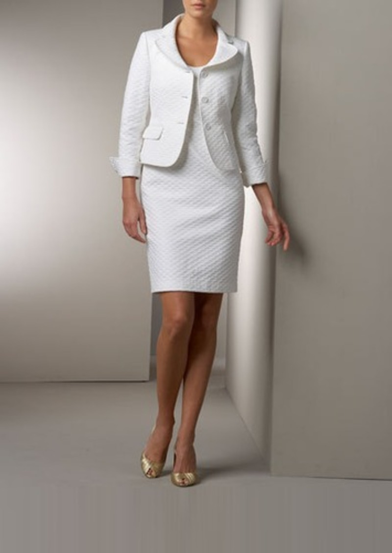 Albert Nipon Diamond-Textured Jacket & Dress Set