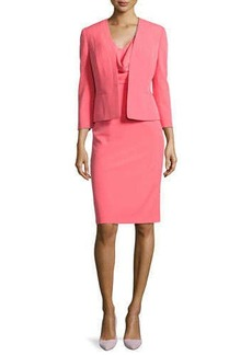 Albert Nipon Draped Sheath Dress W/ Matching Jacket